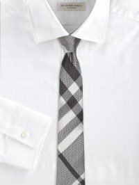 Burberry Check Silk Tie in Black for Men | Lyst