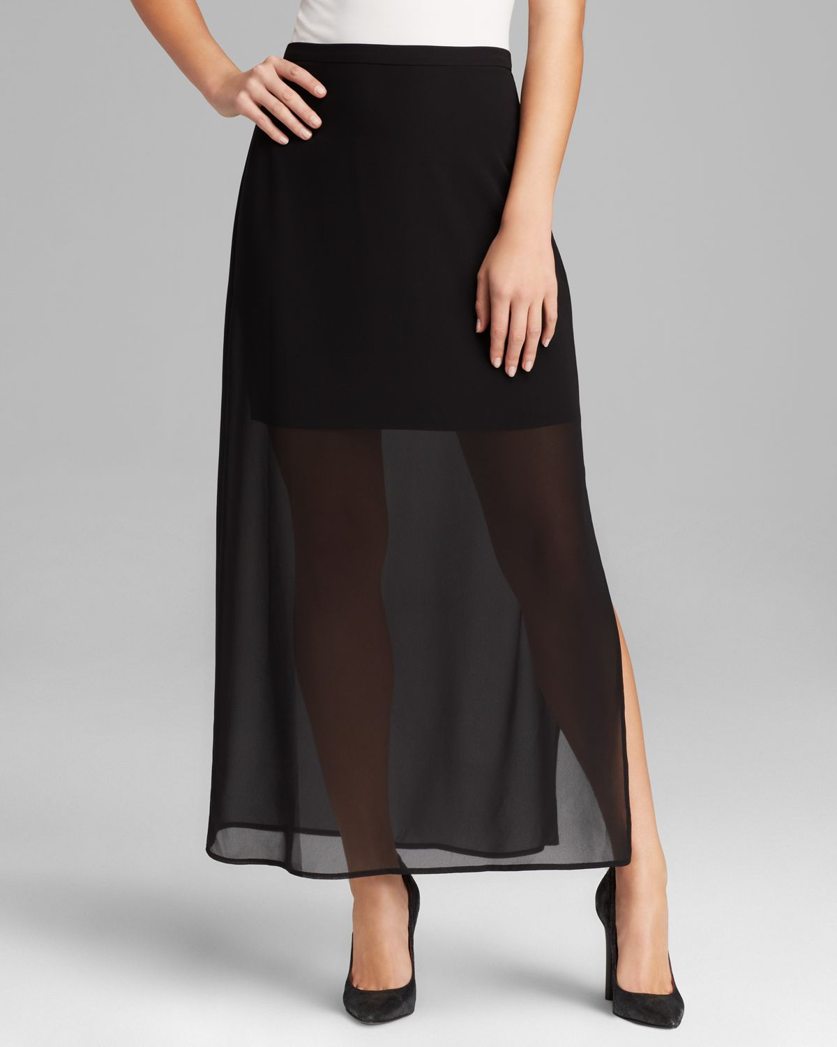 Vince Camuto Semi Sheer Overlay Maxi Skirt in Black - Lyst