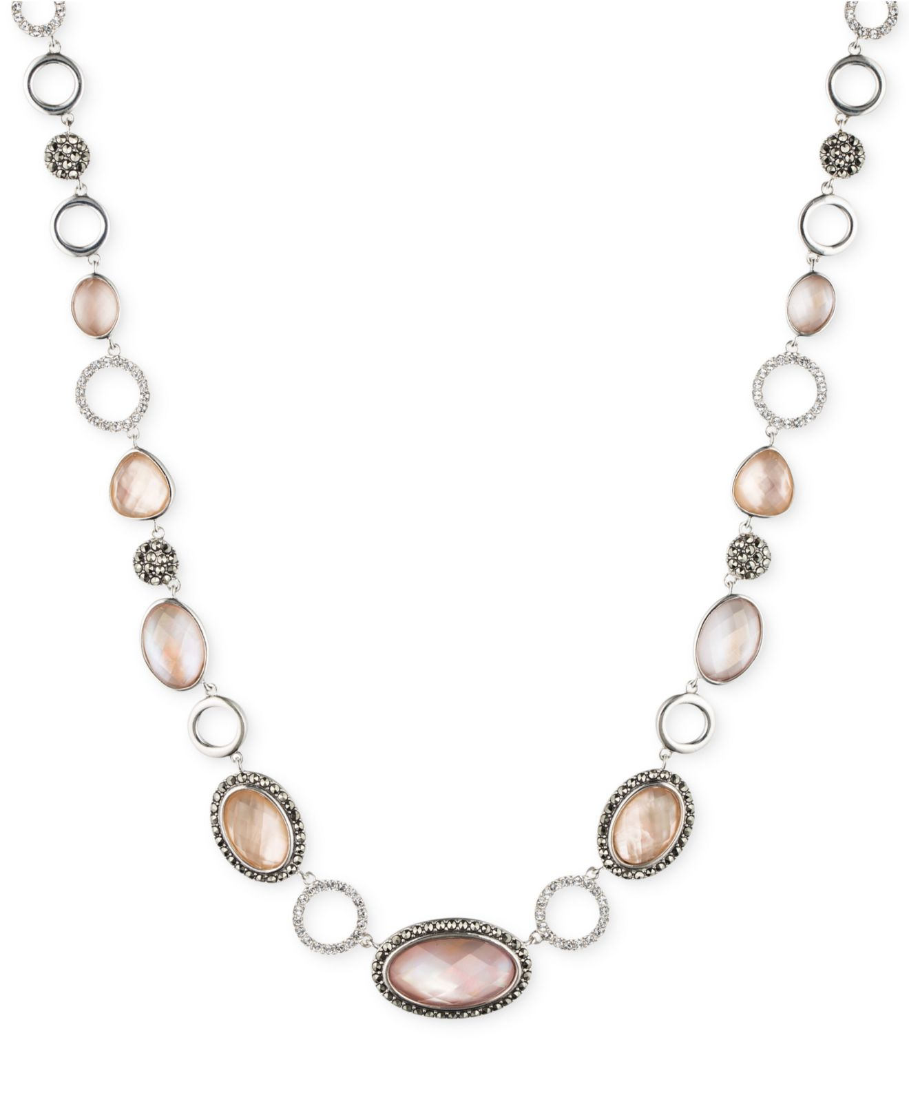 Judith Jack Sterling Silver Pink Abalone Stone Collar