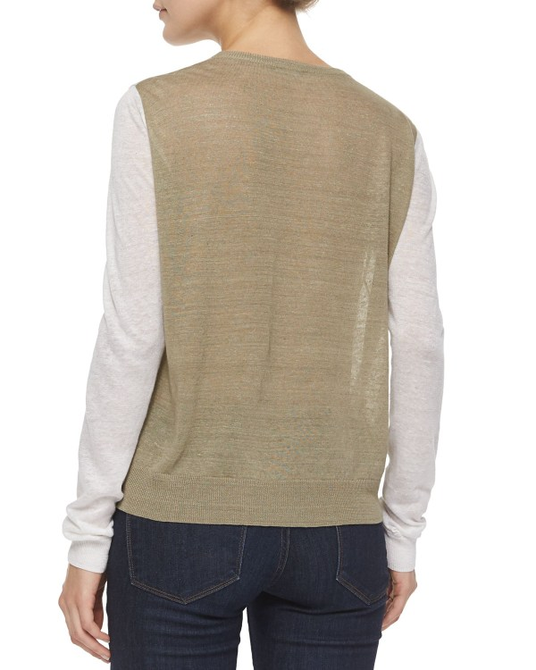 Lyst - Theory Mayolee Two-tone Sag Harbor Sweater In Gray