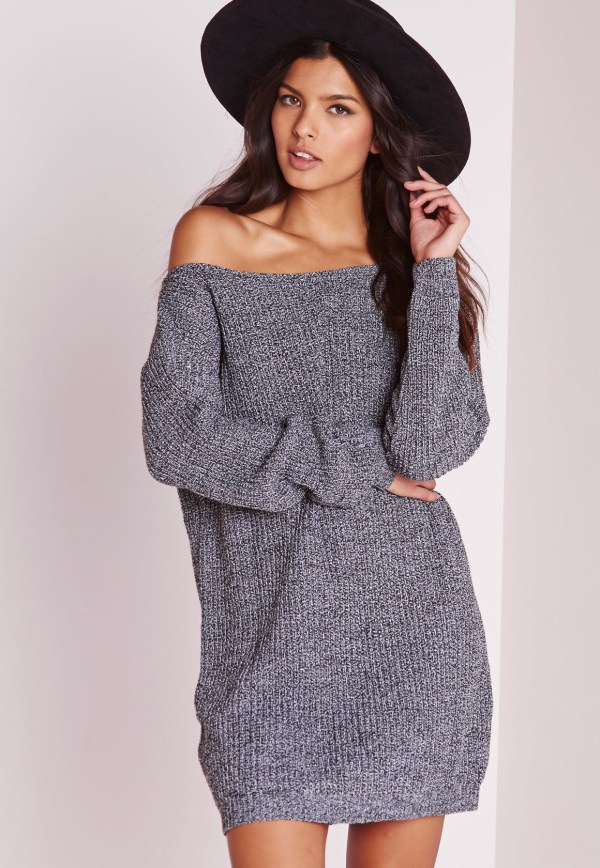 Missguided Shoulder Knitted Jumper Dress Grey Marl In