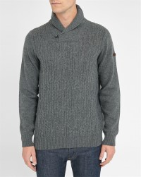 Ben sherman Grey Cable-knit Shawl Collar Sweater in Gray ...