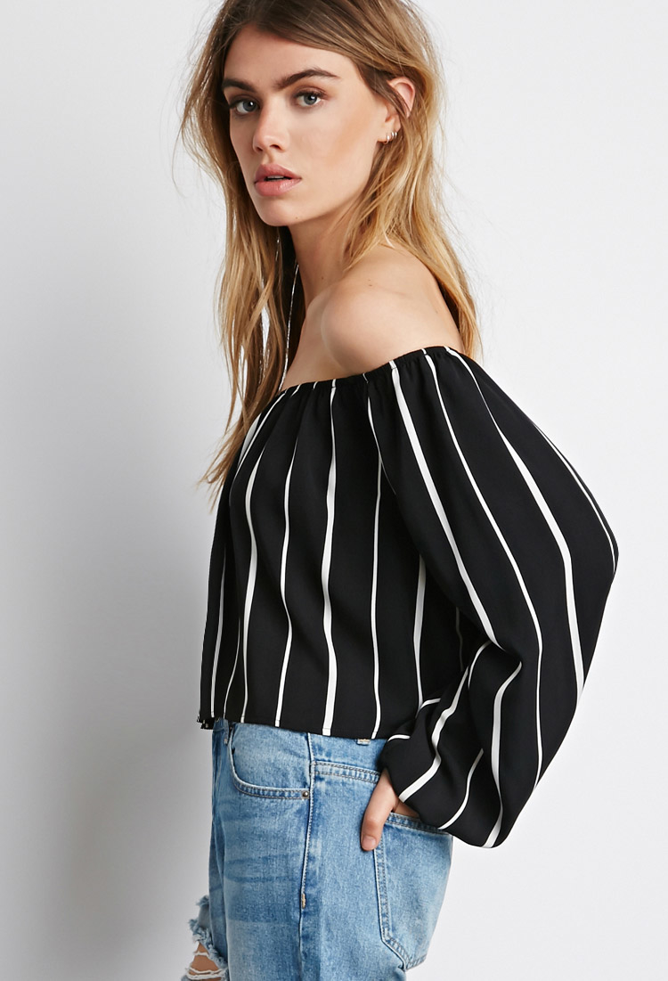 Lyst  Forever 21 Striped Offtheshoulder Top in White