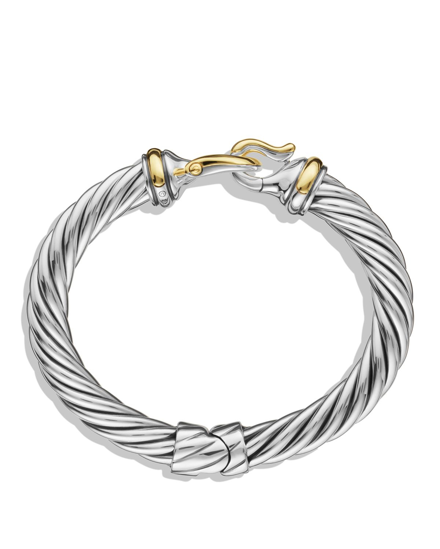David Yurman Buckle Cable Bracelet With Gold In Metallic