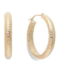 Macy's Diamond-cut Hoop Earrings In 10k Gold, 26mm in ...