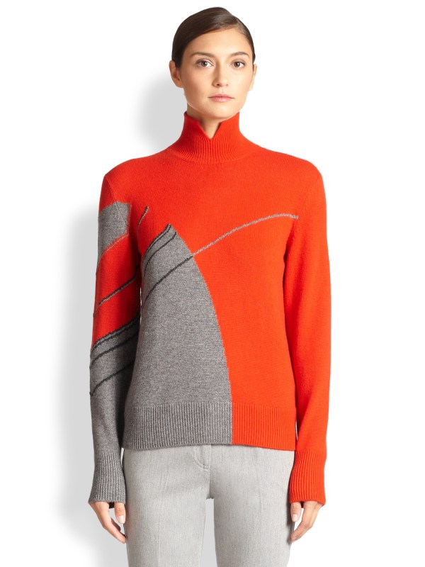 Akris Cashmere Mock Turtleneck Sweater In Red Lyst