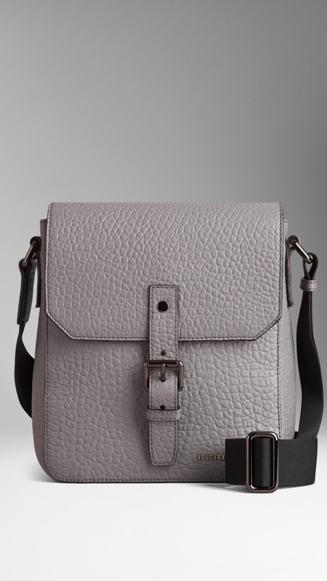 Lyst - Burberry Matte Signature Grain Leather Crossbody Bag in Gray for Men