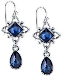 Blue Stone Earrings Drop 18k Gold Plated Blue Stone Drop ...
