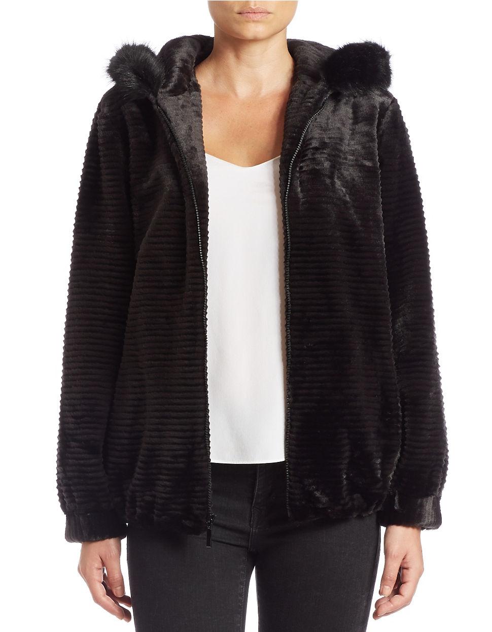 Gallery Hooded Faux Fur Jacket In Black Lyst
