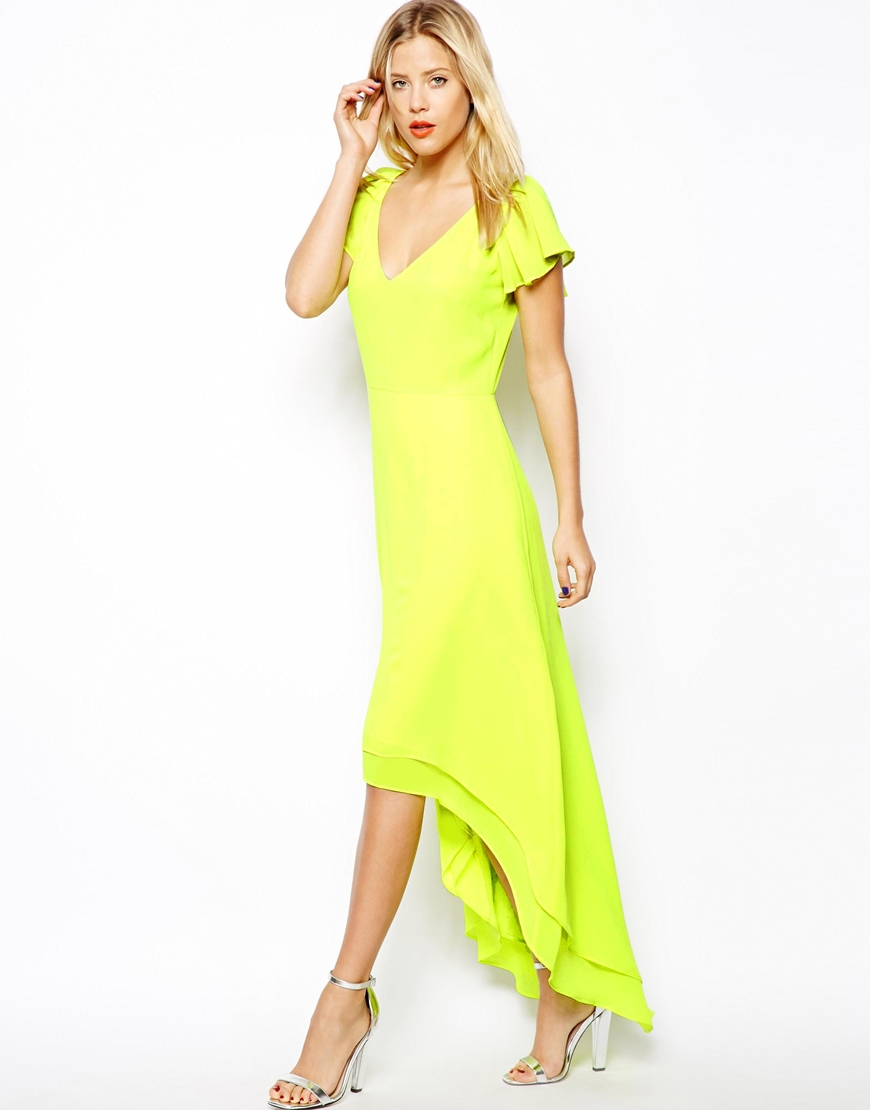 Lyst  ASOS High Low Hem Maxi Dress in Yellow