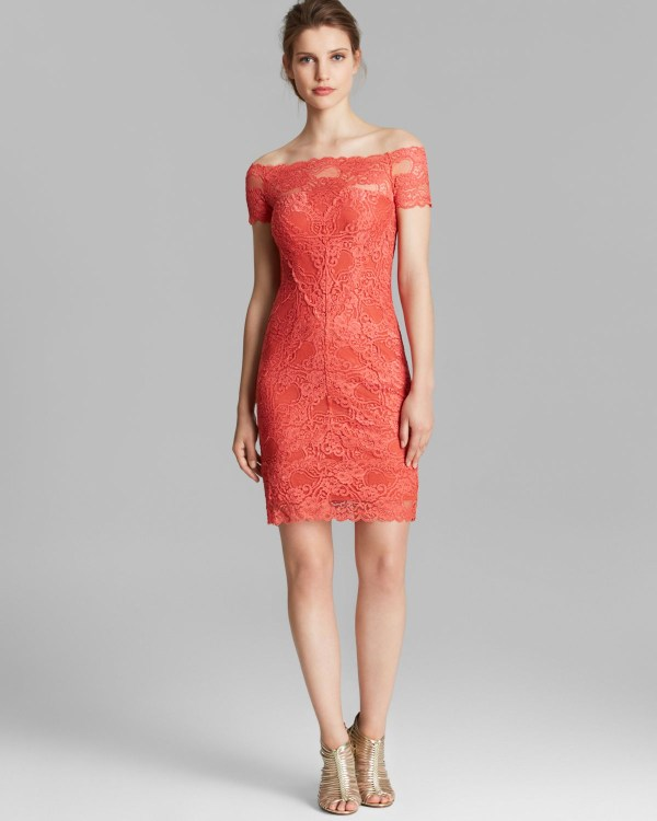 Lyst - Nicole Miller Dress Shoulder Lace In Red