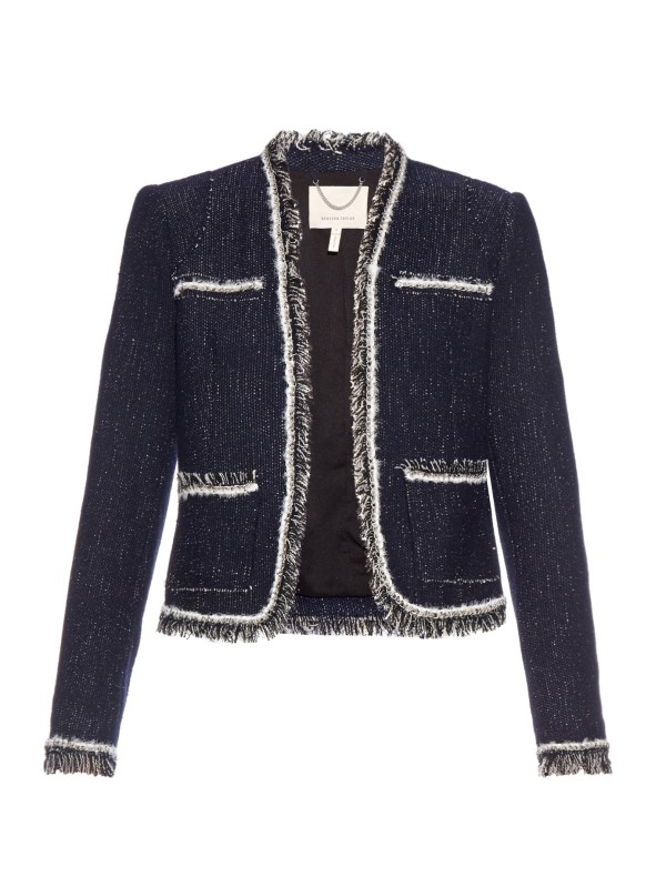 Lyst - Rebecca Taylor Fringed Boucl Jacket In Blue