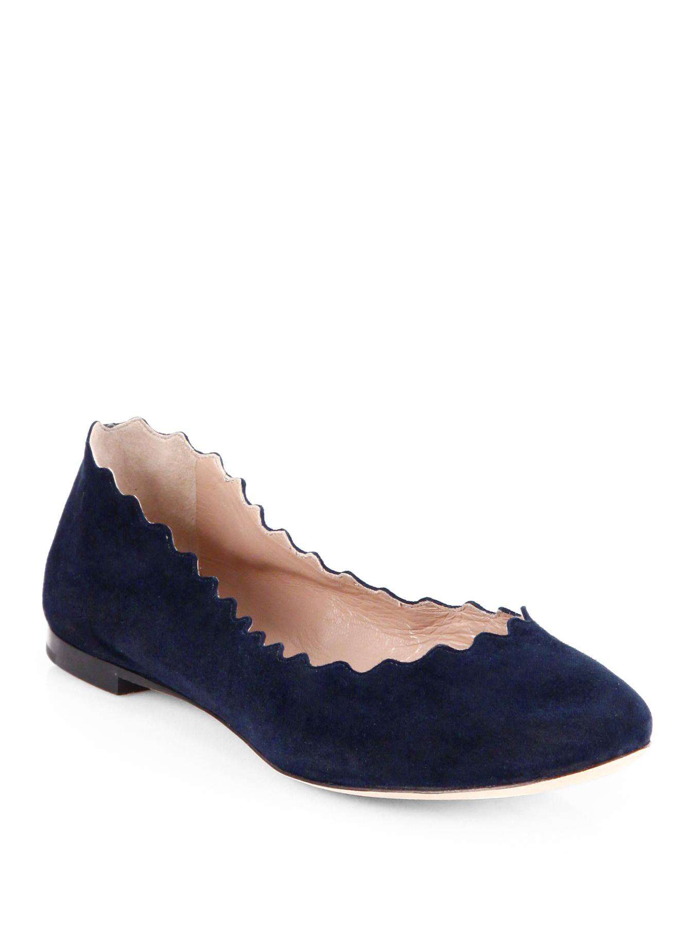 Chlo Scalloped Suede Ballet Flats in Blue BLUE LAGOON