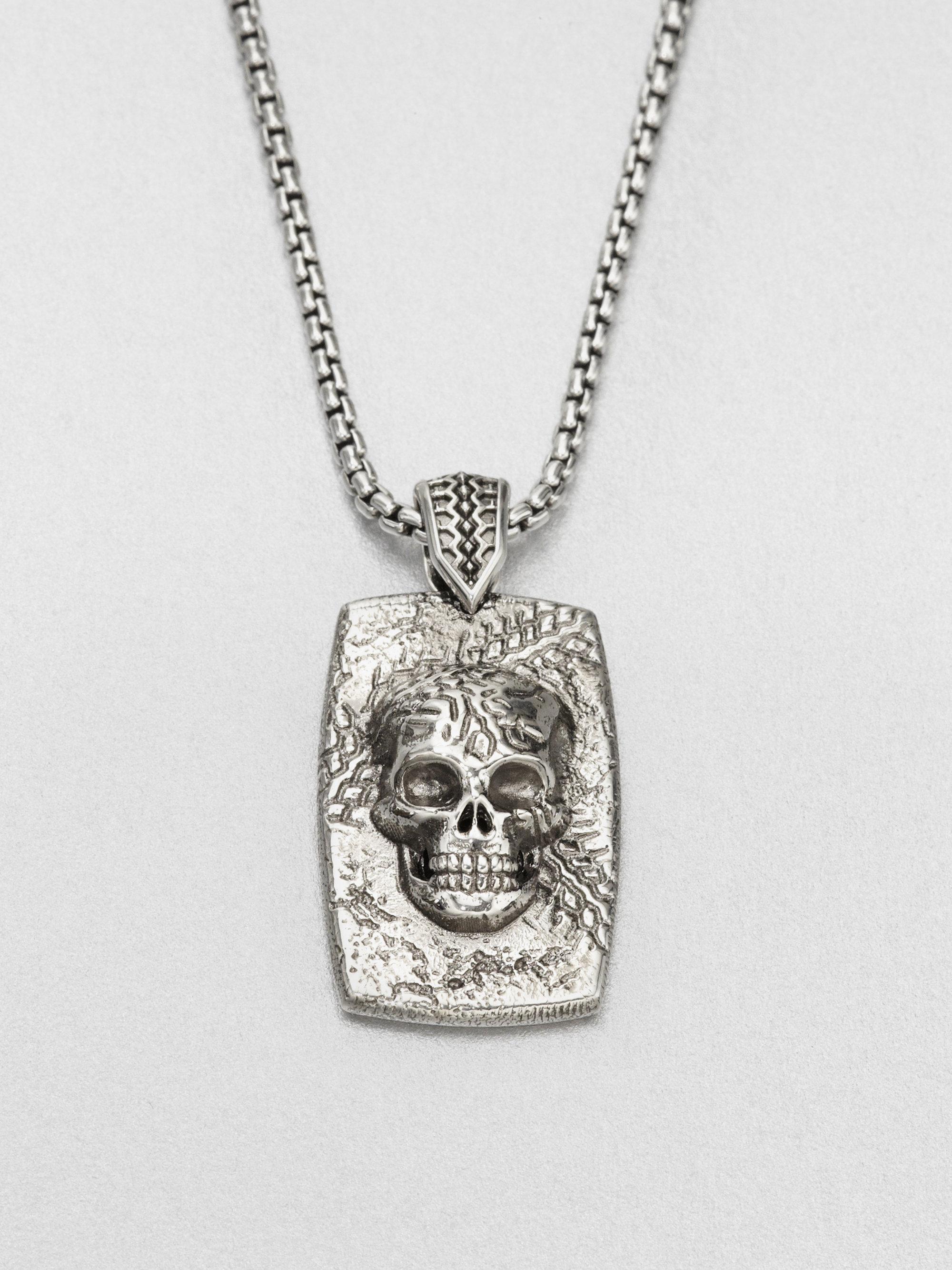 Stephen Webster Sterling Silver Skull Dog Tag Necklace in