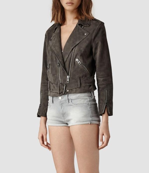 Lyst - Allsaints Hind Leather Biker Jacket In Gray