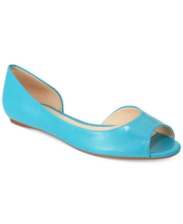 Nine West Bacheloret Ballet Flats In Blue Aqua