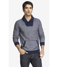 Lyst - Express Shawl Collar Fleece Sweatshirt in Blue for Men