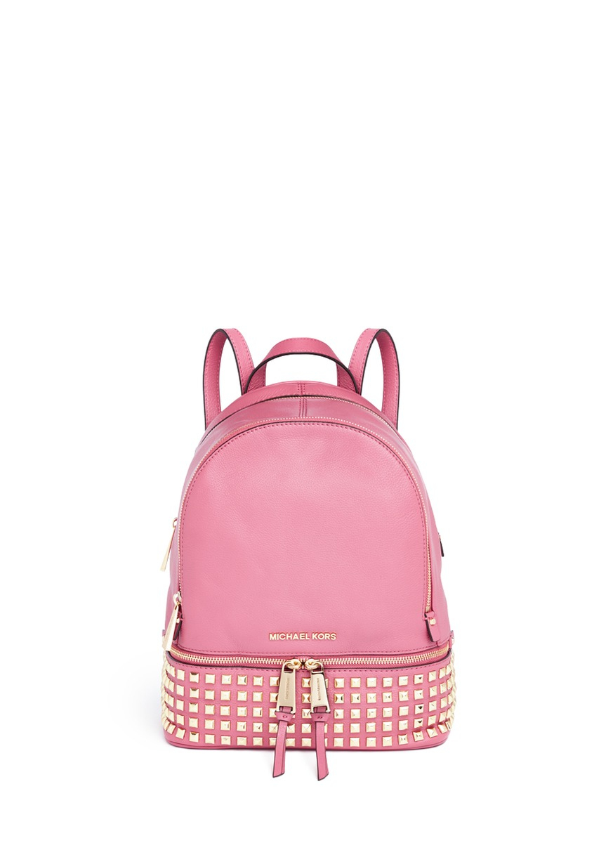 Michael Kors 'rhea' Small Stud Leather Backpack in Pink - Lyst