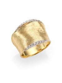 Marco bicego Lunaria Diamond & 18k Yellow Gold Band Ring ...