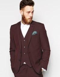 Asos Slim Fit Suit Jacket In Burgundy Pindot in Purple for ...
