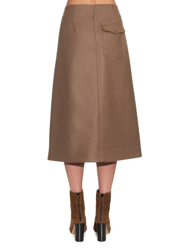 Lemaire High-waist -line Wool Skirt In Brown - Lyst