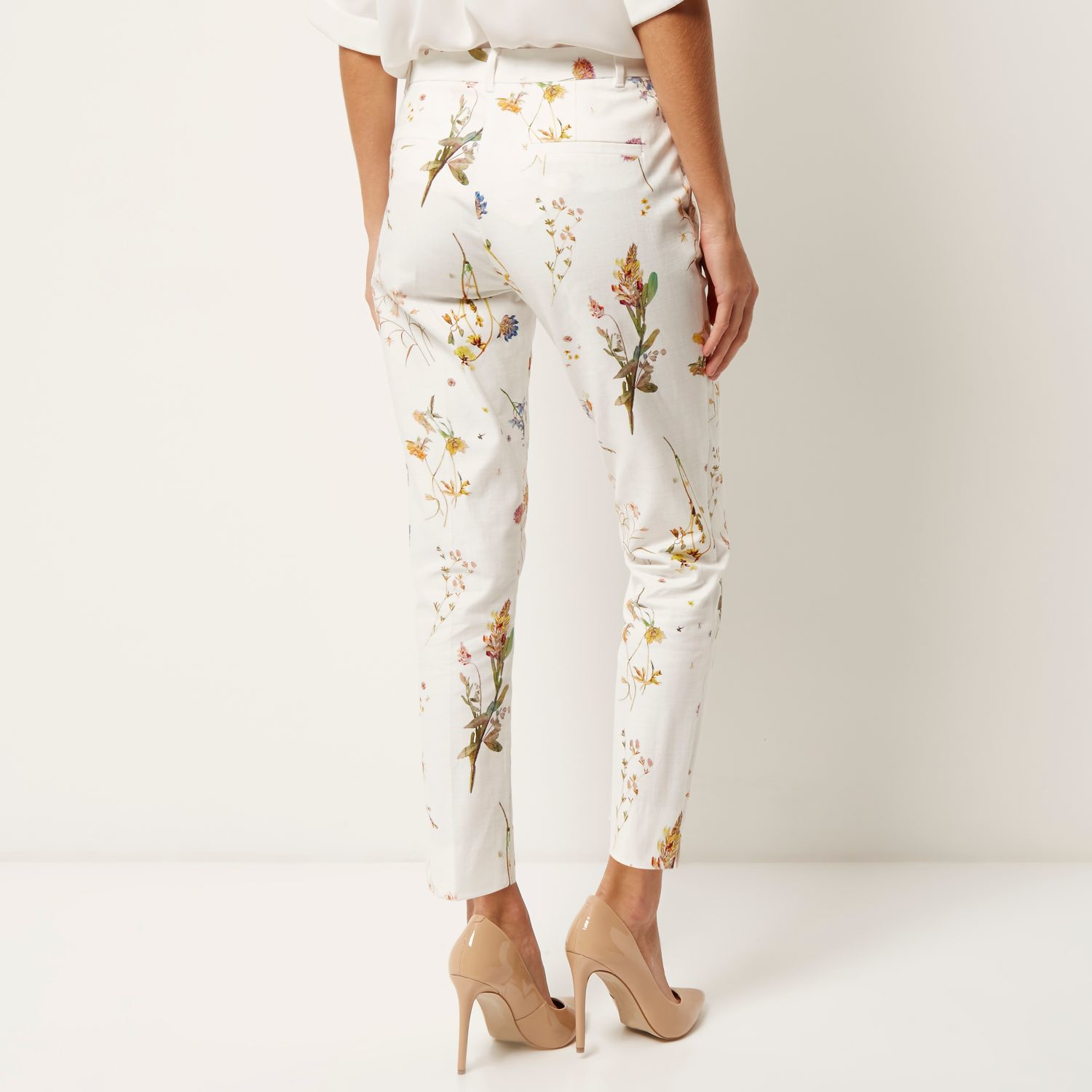 Lyst River Island White Floral Print Slim Pants In White