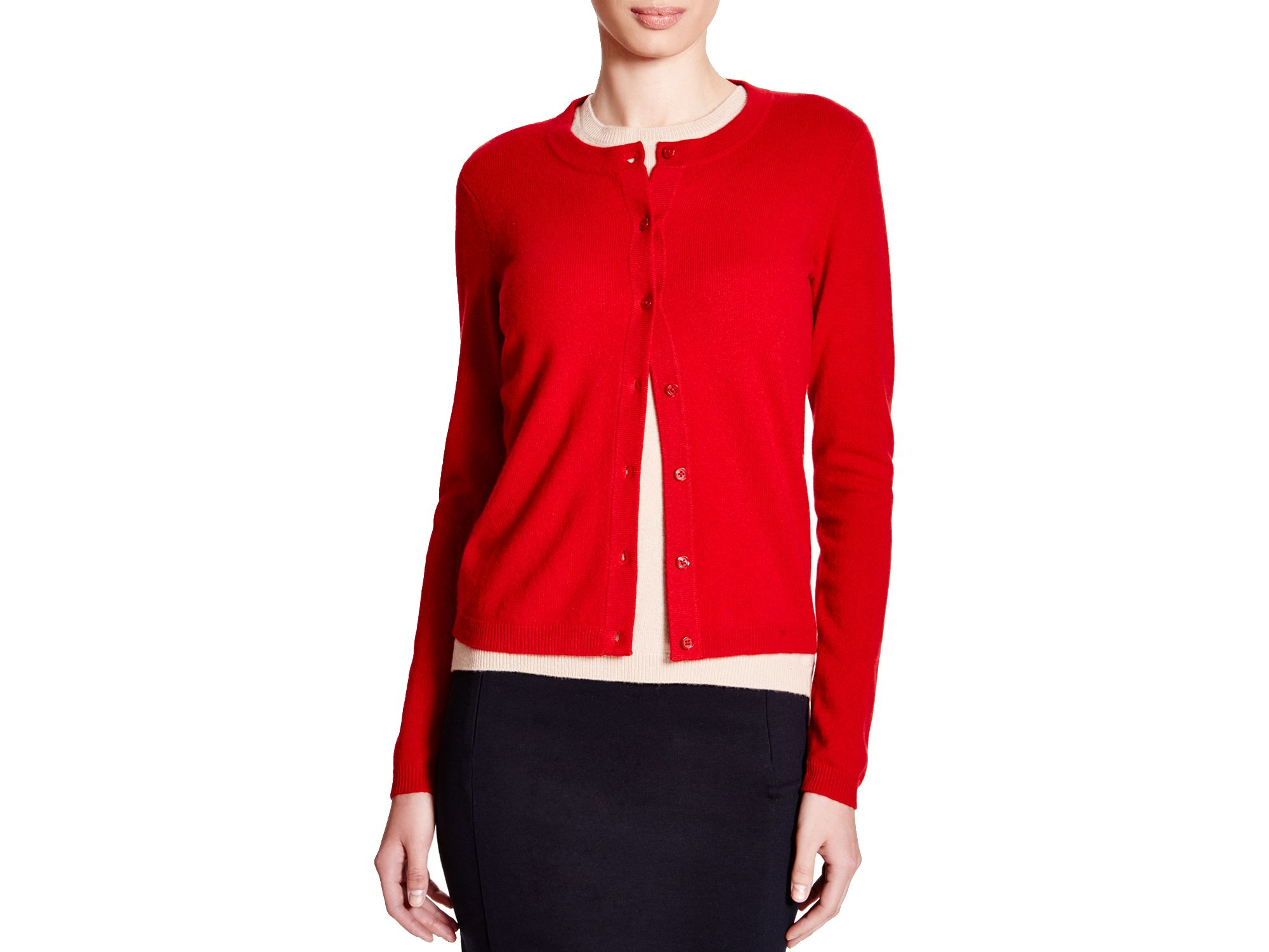 C By Bloomingdale'S Crewneck Cashmere Cardigan In Red