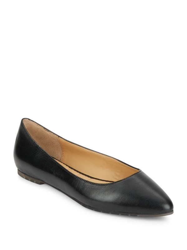 Pointy Toe Leather Flats In Black Lyst