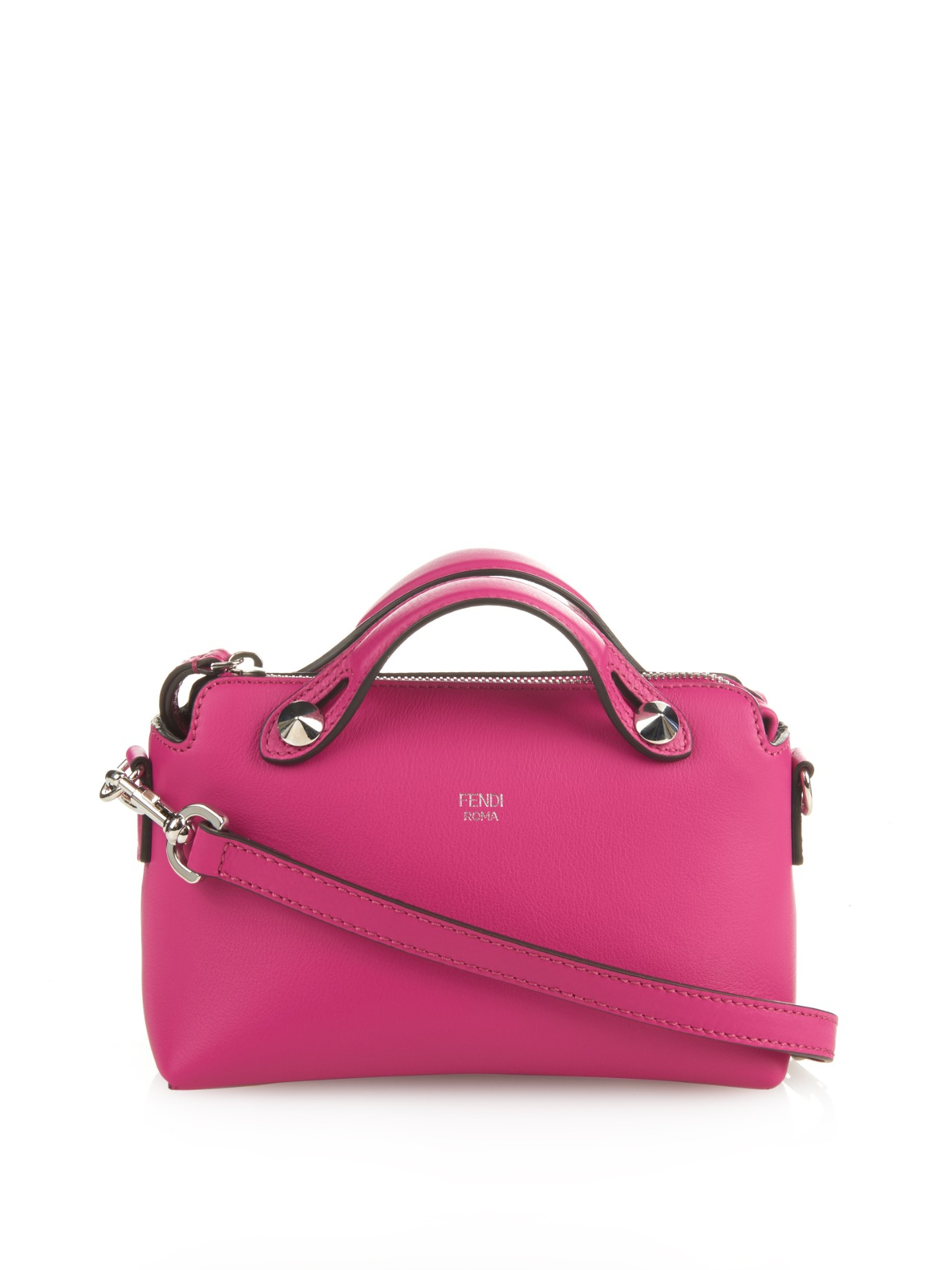 Fendi By The Way Mini Leather Cross-Body Bag in Dark Pink (Pink) - Lyst