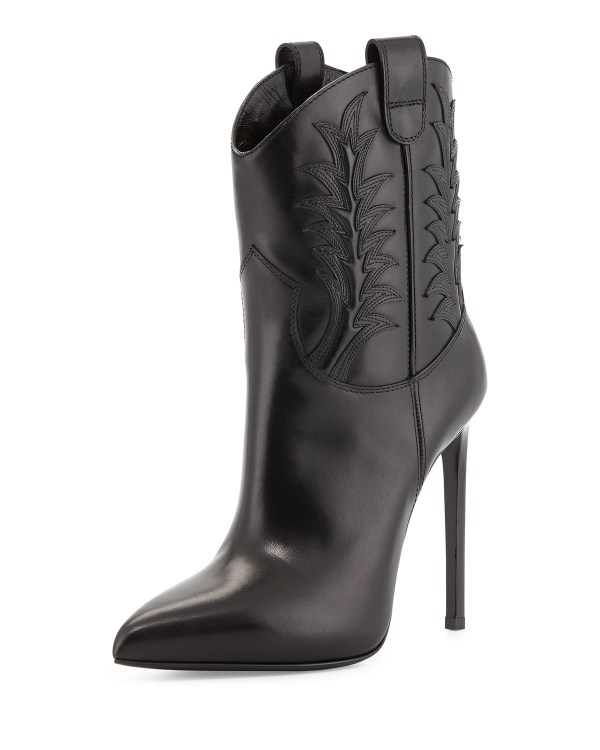 Black High Heel Western Cowgirl Boots