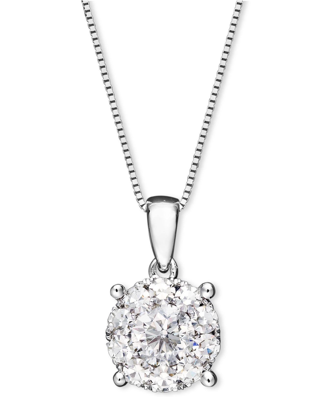 Macy's Diamond Pendant Necklace In 14k White Gold (1/2 Ct