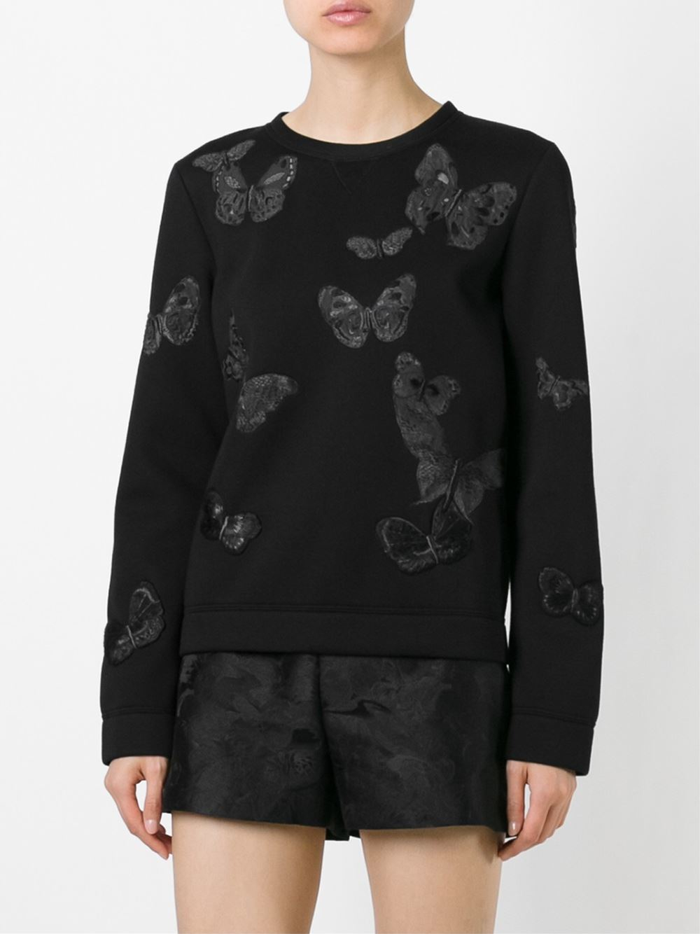 Lyst Valentino Butterflies Embroidered Sweatshirt In Black