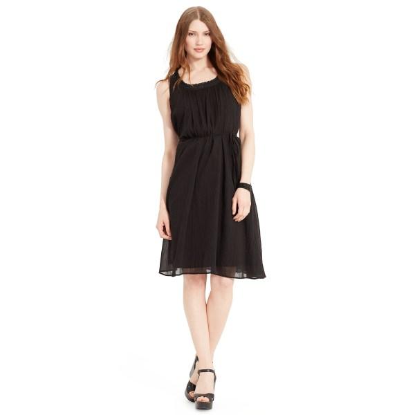 Lyst - Ralph Lauren Cotton Gauze Scoopneck Dress In Black