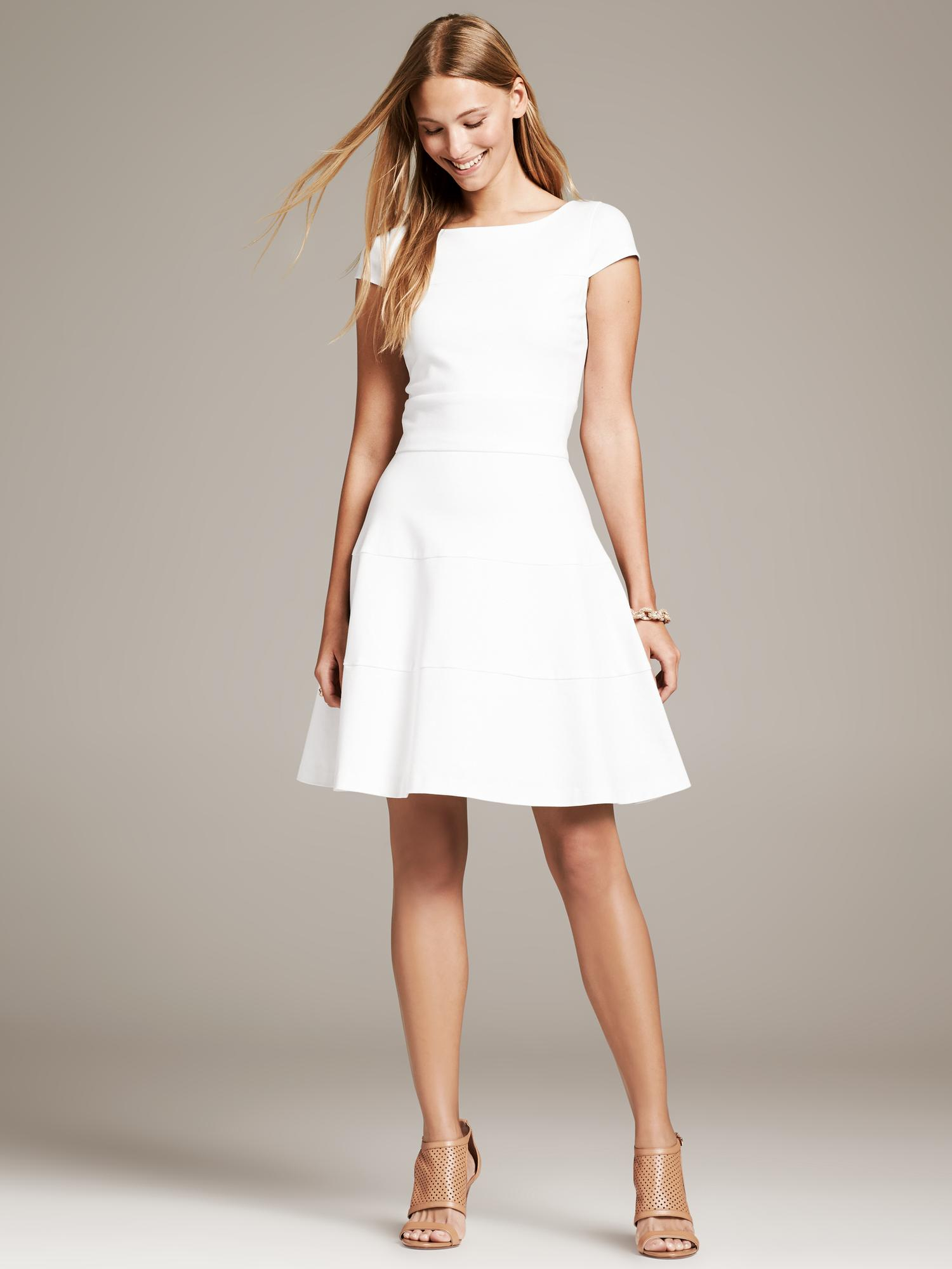 Banana republic Seamed FitAndFlare Dress in White  Lyst