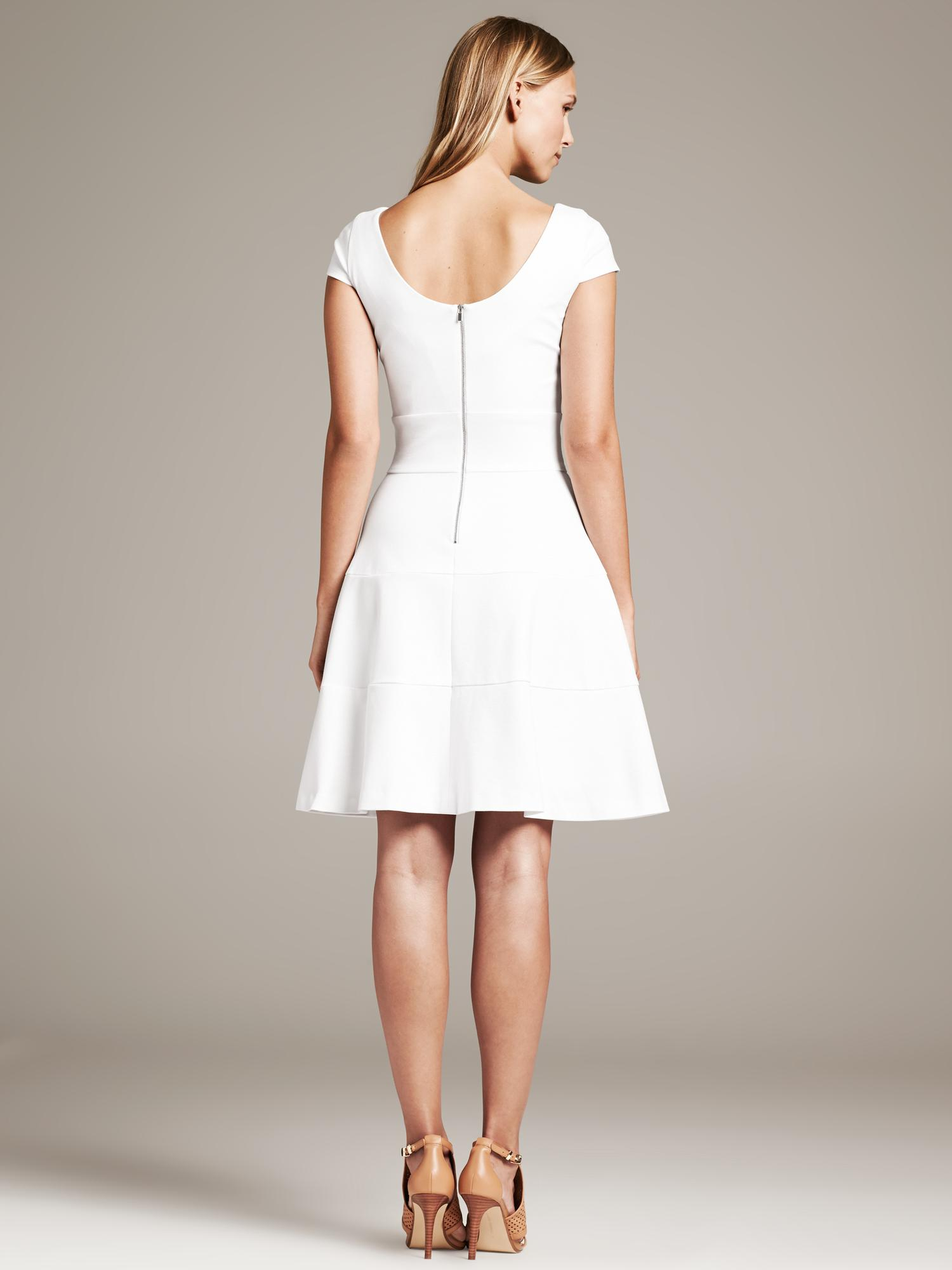 Lyst  Banana Republic Seamed FitAndFlare Dress in White