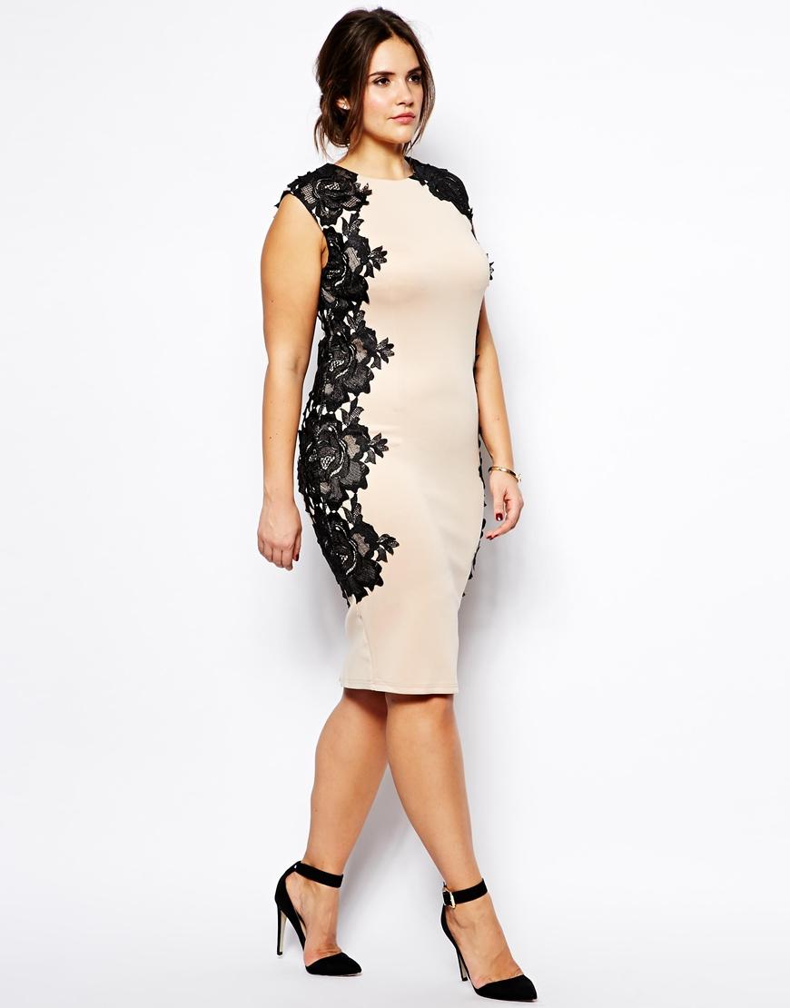 Lyst Ax Paris Plus Size Bodycon Dress With Lace Panels