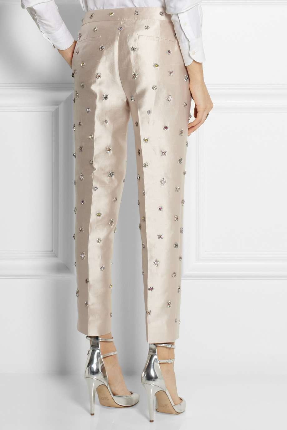 Jcrew Collection Embellished Shantung StraightLeg Pants in White  Lyst