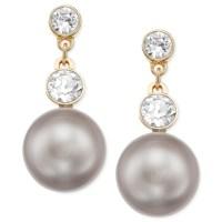 Swarovski Gold-Tone Glass Stone And Crystal Pearl Drop ...