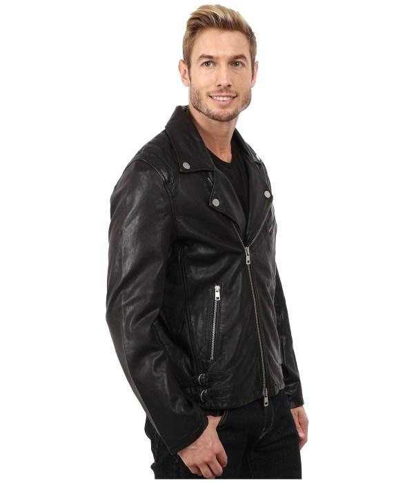 Black Leather Biker Jacket Men