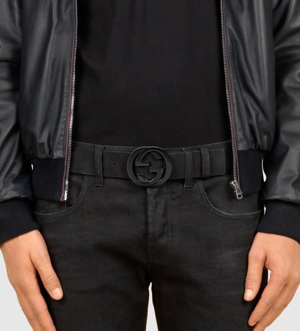Lyst - Gucci Black Suede Belt With Interlocking Buckle