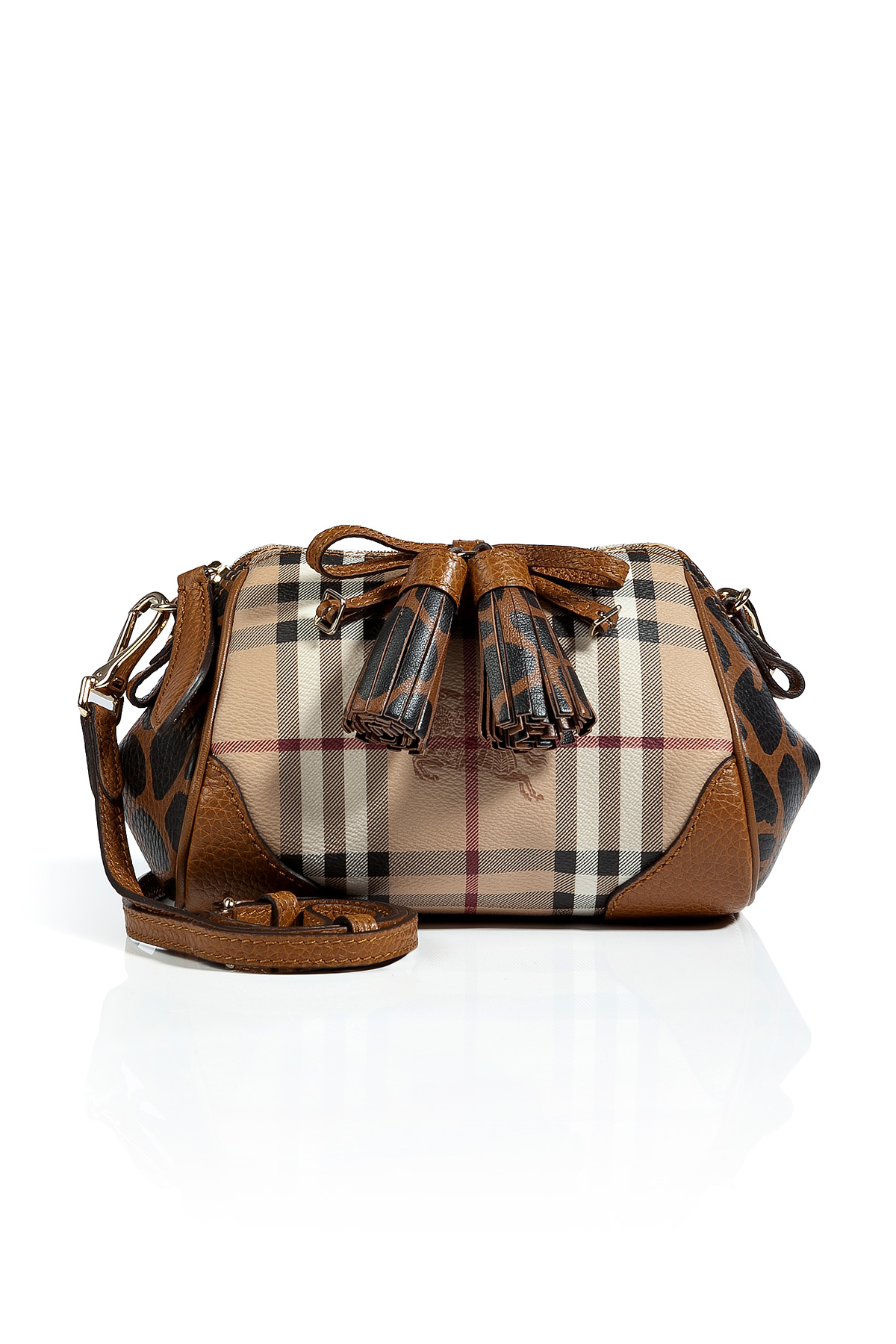 Burberry Haymarket Mini Blaze Crossbody Bag in Brown - Lyst