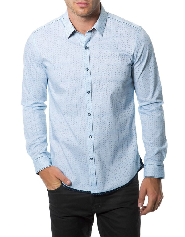 7 Diamonds Stars And Sons Dot Print Sportshirt In Blue