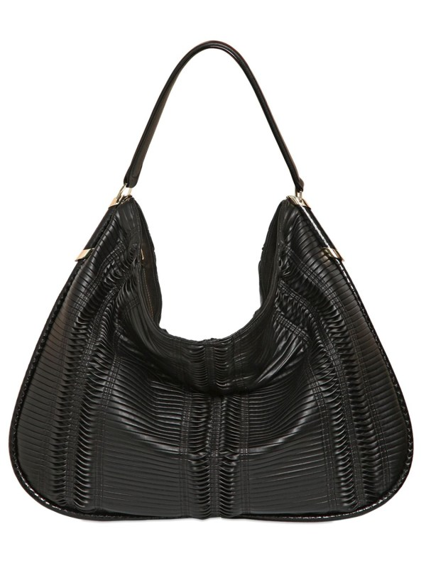 Jimmy Choo Large Zoe Pleated Hobo Bag In Black Lyst