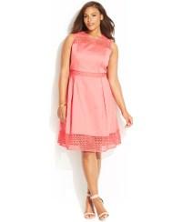 Lyst - Calvin Klein Plus Size Crochet-panel Dress in Pink