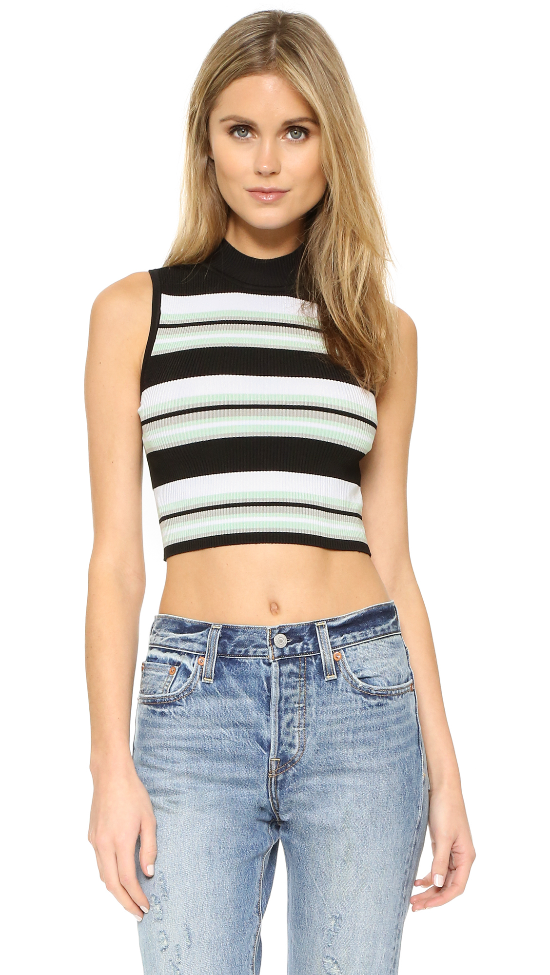 Lyst  Ronny Kobo Claudella Ribbed Crop Top in White
