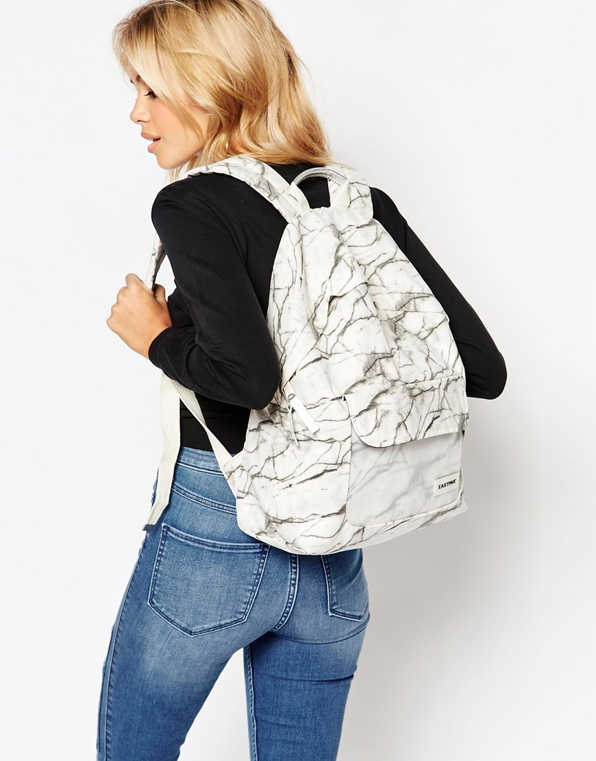 Eastpak Padded Pakr Backpack In Marble Print With Perspex