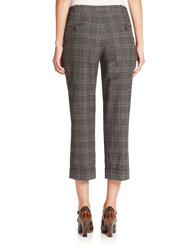 Michael Kors Glenplaid Flannel Capri Pants In Gray Lyst