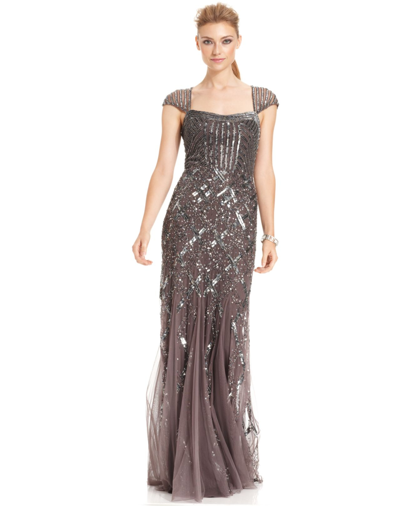 Lyst  Adrianna Papell CapSleeve Sequined Gown in Metallic