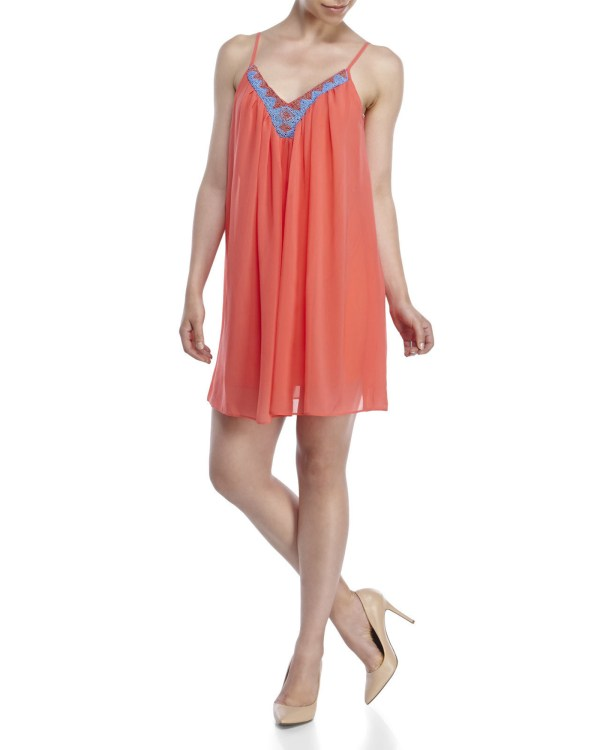 Lyst - City Triangles Beaded Babydoll Dress In Pink