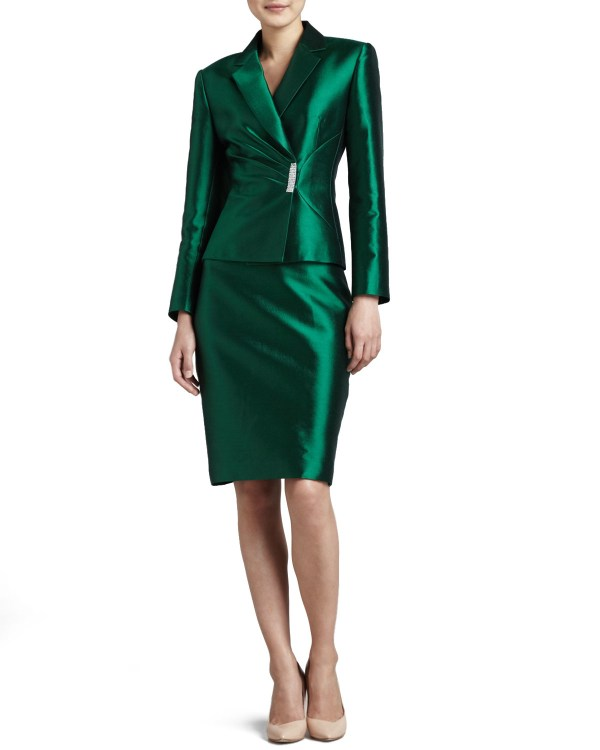 Lyst - Tahari Pleated-jacket Skirt Suit In Green